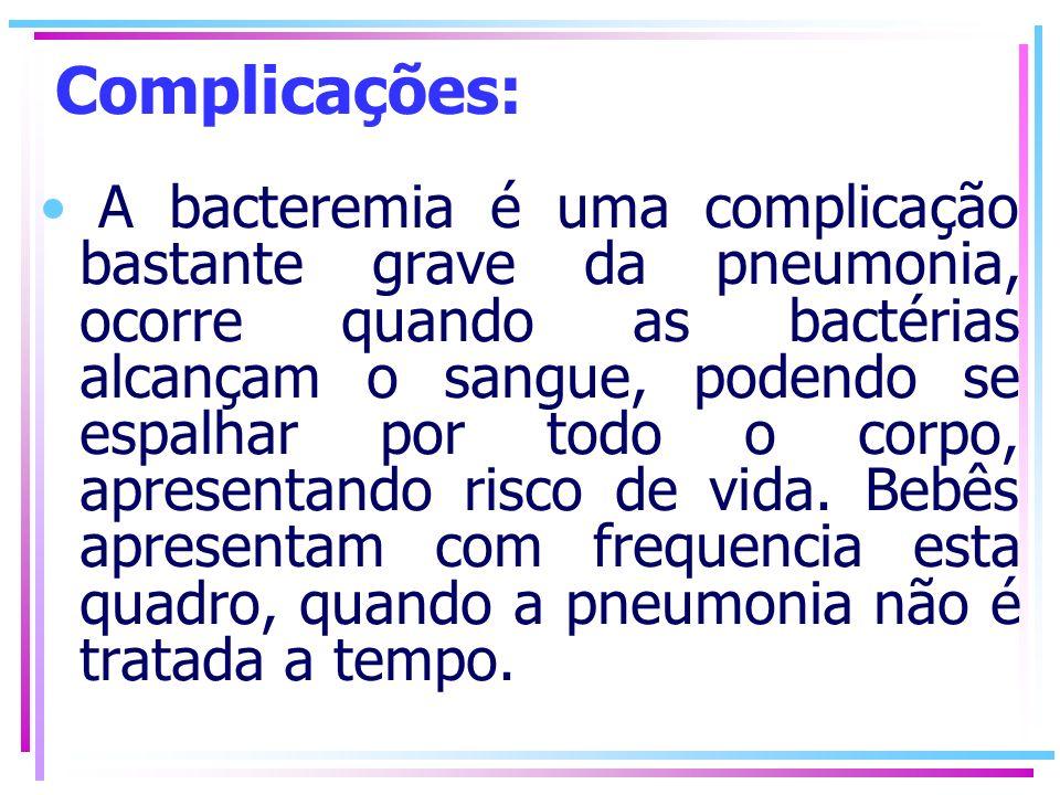 Complicações: A bacteremia é uma complicação bastante grave da pneumonia, ocorre quando as bactérias alcançam o sangue, podendo se espalhar por todo o