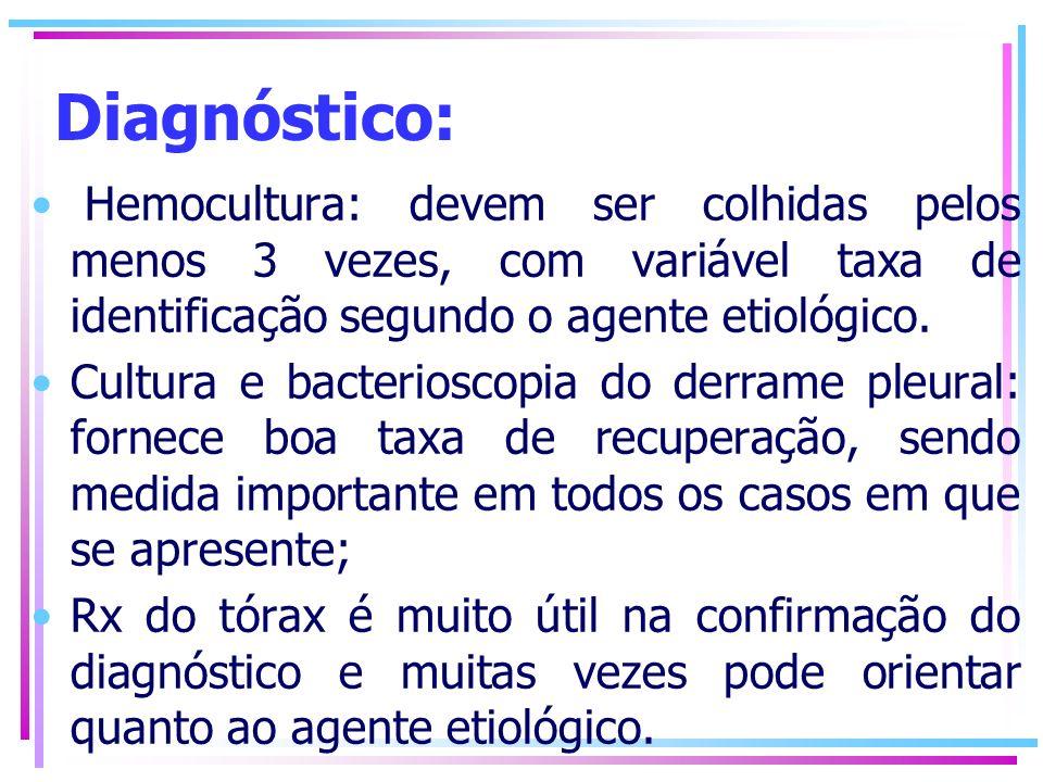 Diagnóstico: Hemocultura: devem ser colhidas pelos menos 3 vezes, com variável taxa de identificação segundo o agente etiológico. Cultura e bacteriosc