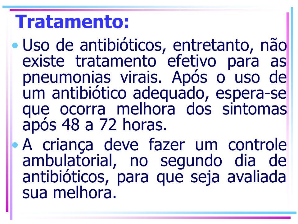 Tratamento: Uso de antibióticos, entretanto, não existe tratamento efetivo para as pneumonias virais. Após o uso de um antibiótico adequado, espera-se
