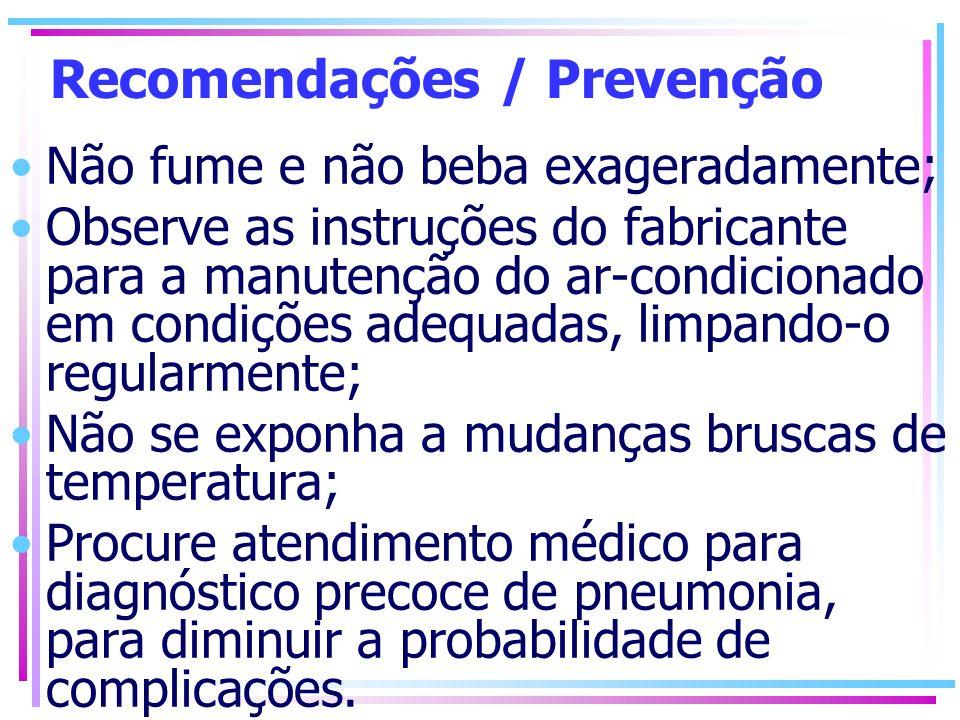 Recomendações / Prevenção Não fume e não beba exageradamente; Observe as instruções do fabricante para a manutenção do ar-condicionado em condições ad