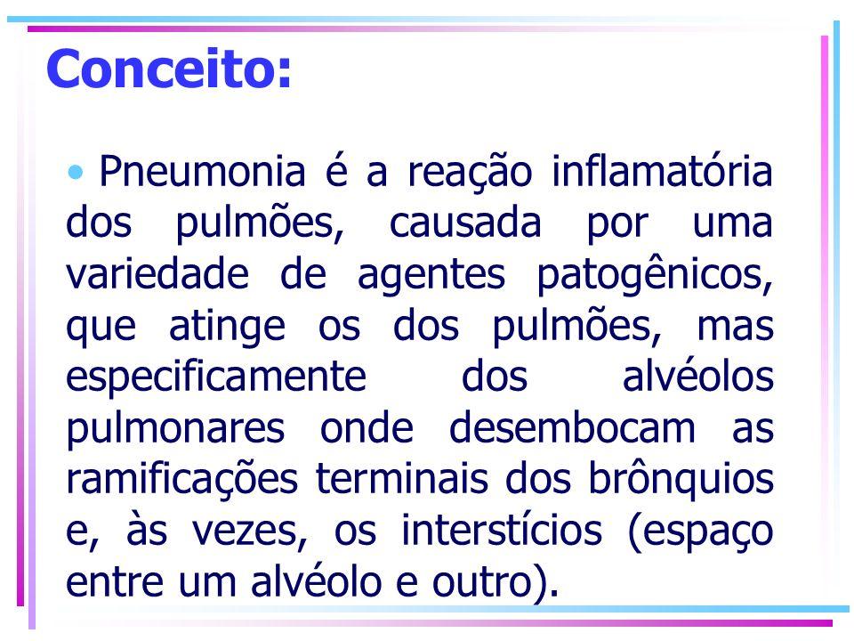 Conceito: Pneumonia é a reação inflamatória dos pulmões, causada por uma variedade de agentes patogênicos, que atinge os dos pulmões, mas especificame