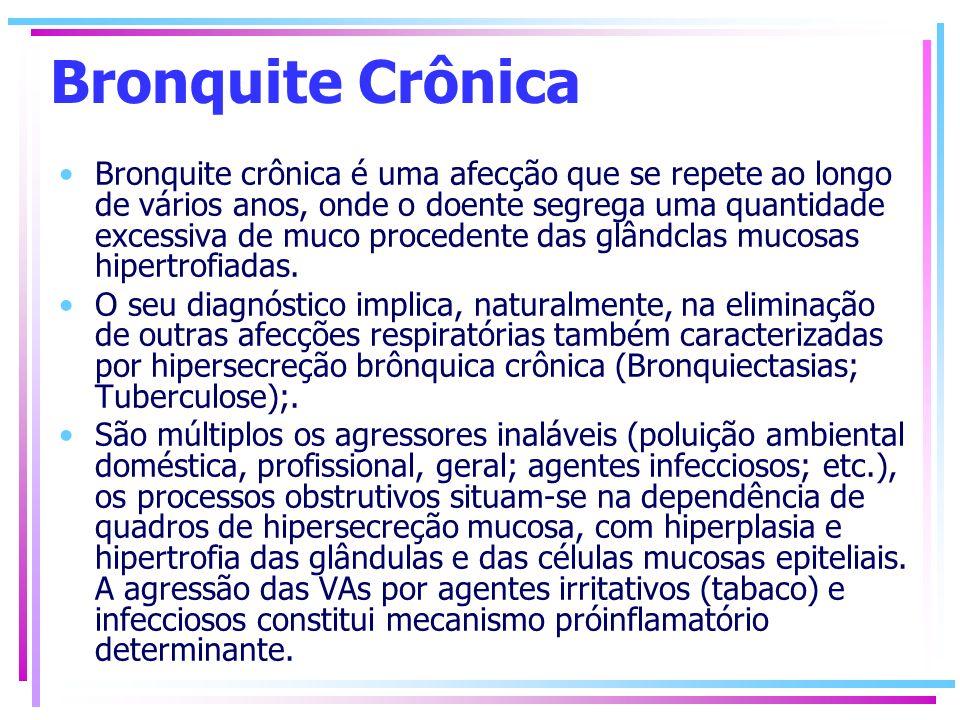 Bronquite Crônica Bronquite crônica é uma afecção que se repete ao longo de vários anos, onde o doente segrega uma quantidade excessiva de muco proced