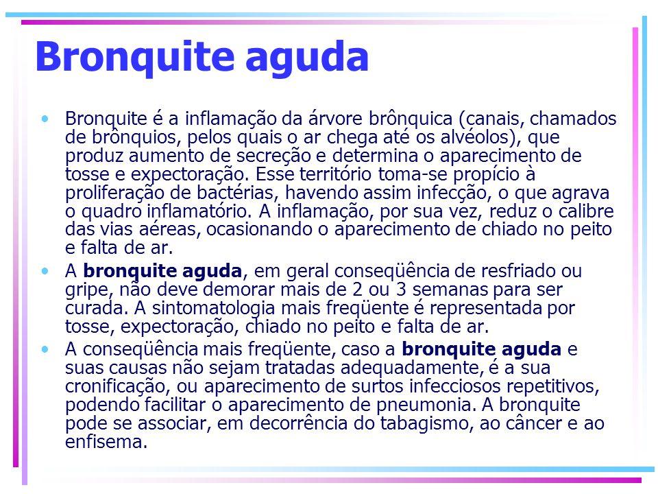 Bronquite aguda Bronquite é a inflamação da árvore brônquica (canais, chamados de brônquios, pelos quais o ar chega até os alvéolos), que produz aumen