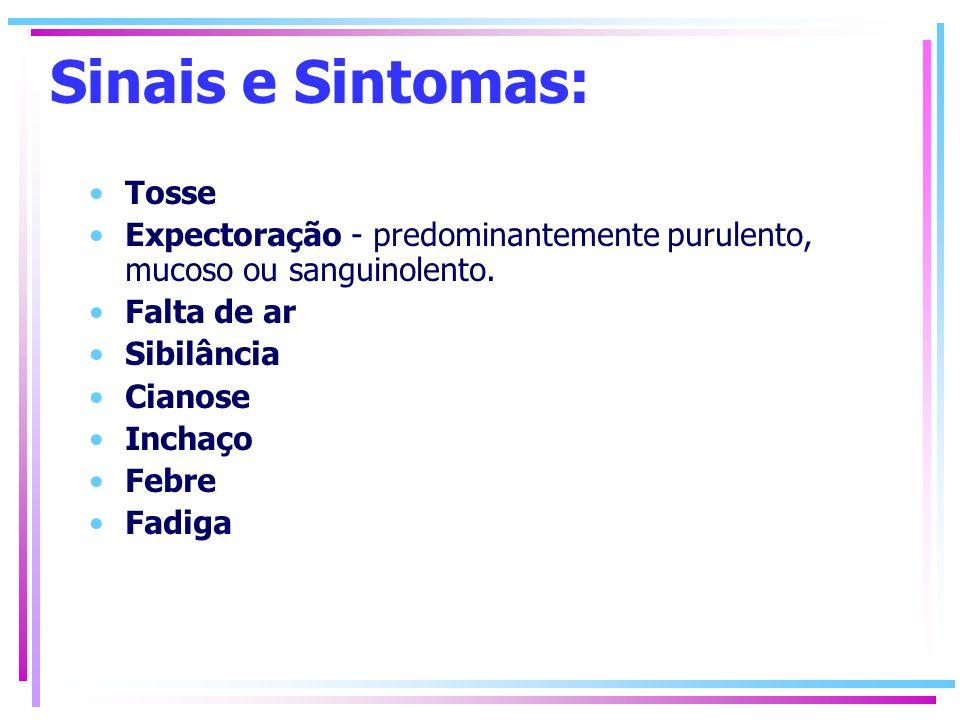 Sinais e Sintomas: Tosse Expectoração - predominantemente purulento, mucoso ou sanguinolento. Falta de ar Sibilância Cianose Inchaço Febre Fadiga