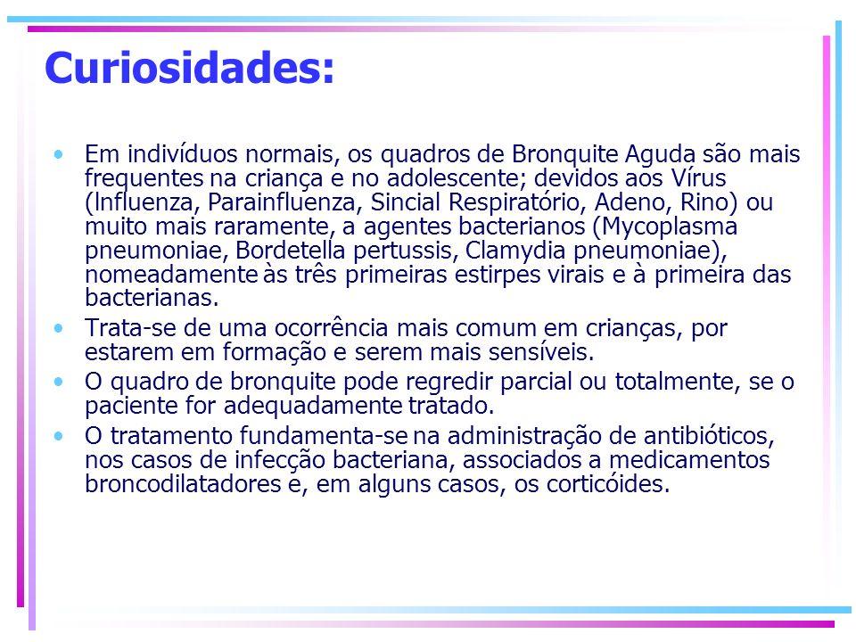 Curiosidades: Em indivíduos normais, os quadros de Bronquite Aguda são mais frequentes na criança e no adolescente; devidos aos Vírus (lnfluenza, Para
