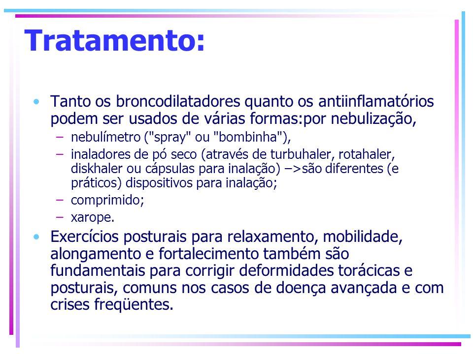 Tratamento: Tanto os broncodilatadores quanto os antiinflamatórios podem ser usados de várias formas:por nebulização, –nebulímetro (