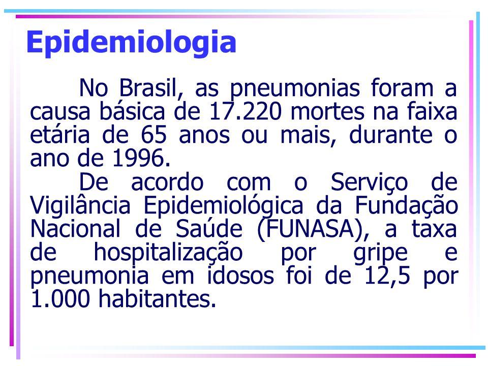 Epidemiologia No Brasil, as pneumonias foram a causa básica de 17.220 mortes na faixa etária de 65 anos ou mais, durante o ano de 1996. De acordo com