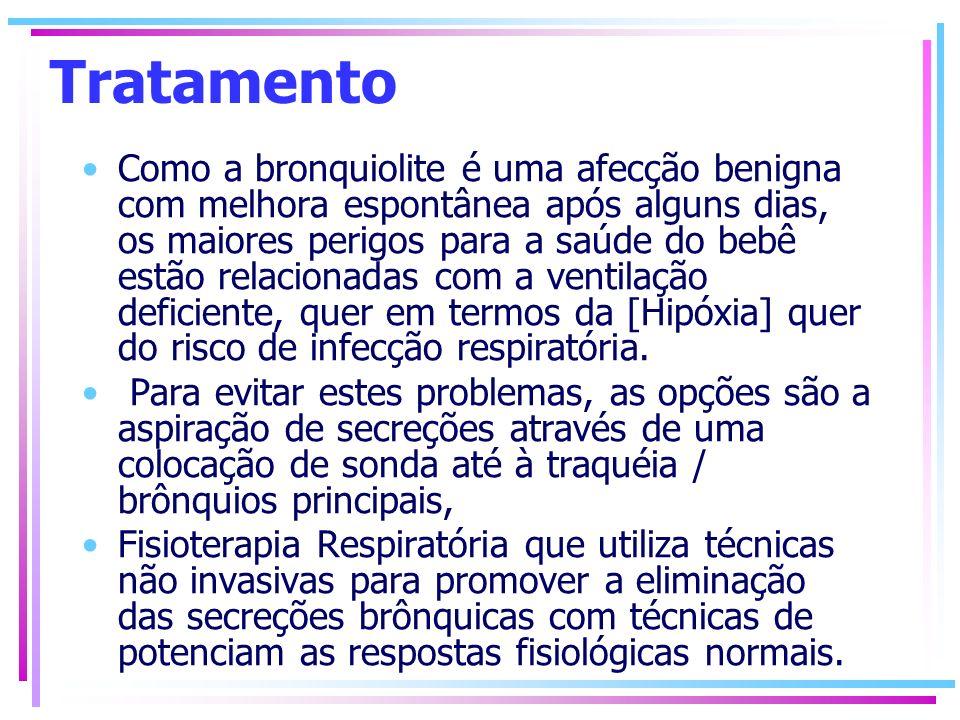 Tratamento Como a bronquiolite é uma afecção benigna com melhora espontânea após alguns dias, os maiores perigos para a saúde do bebê estão relacionad