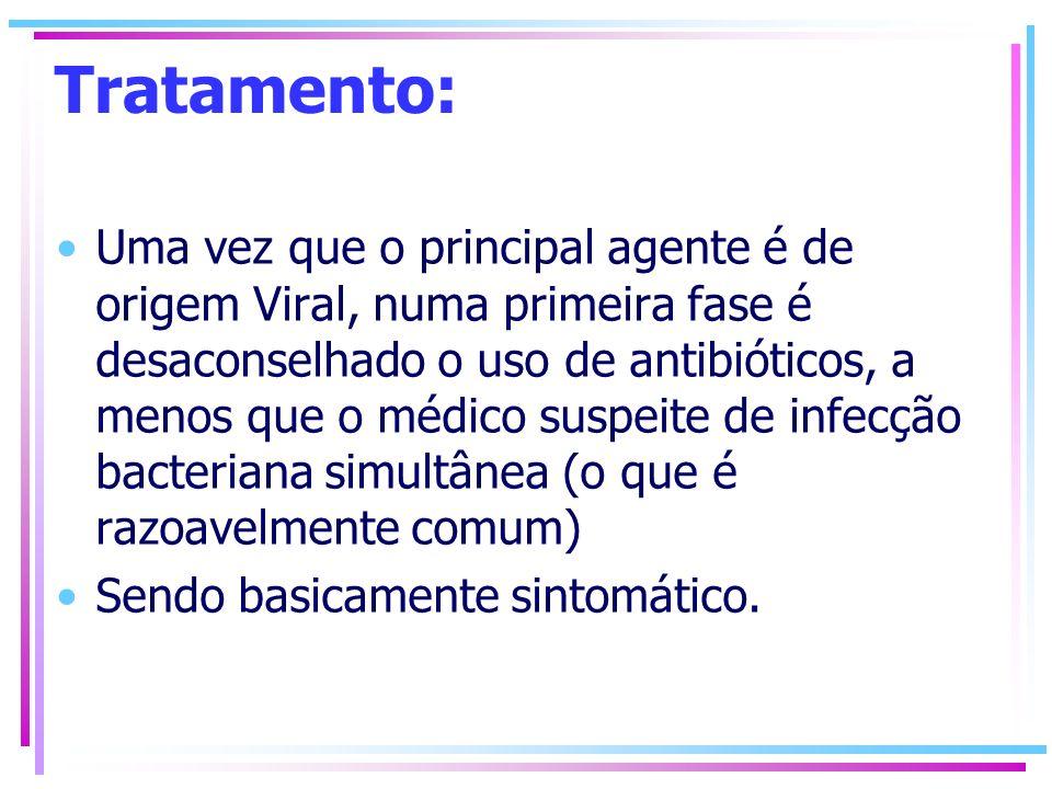 Tratamento: Uma vez que o principal agente é de origem Viral, numa primeira fase é desaconselhado o uso de antibióticos, a menos que o médico suspeite
