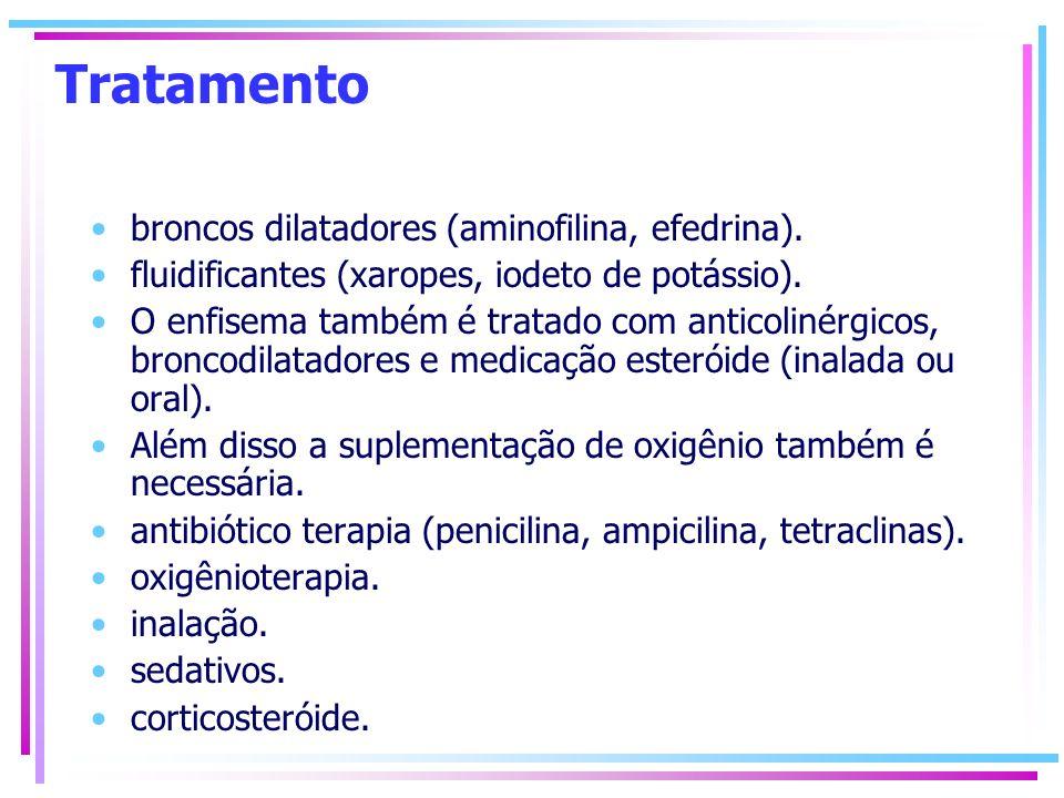 Tratamento broncos dilatadores (aminofilina, efedrina). fluidificantes (xaropes, iodeto de potássio). O enfisema também é tratado com anticolinérgicos