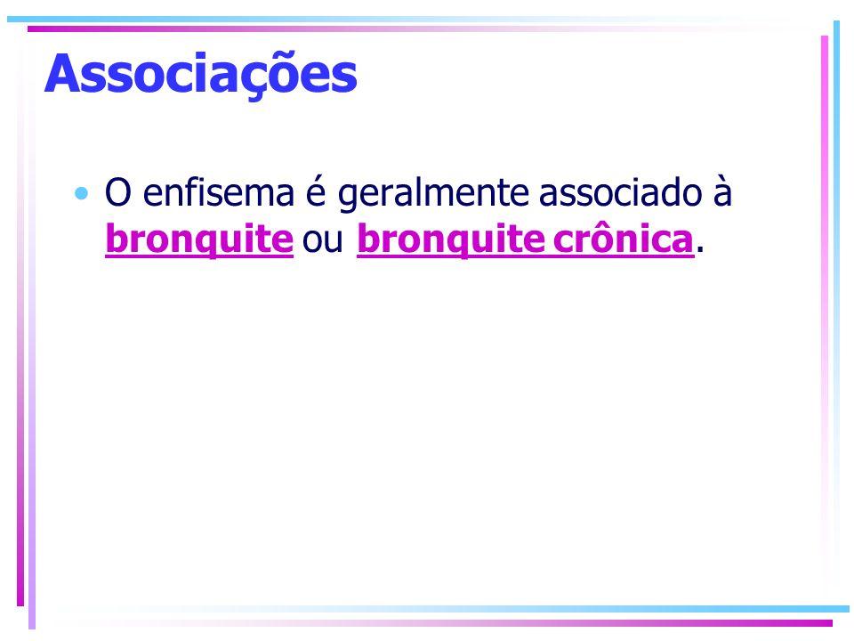 Associações O enfisema é geralmente associado à bronquite ou bronquite crônica. bronquitebronquite crônica