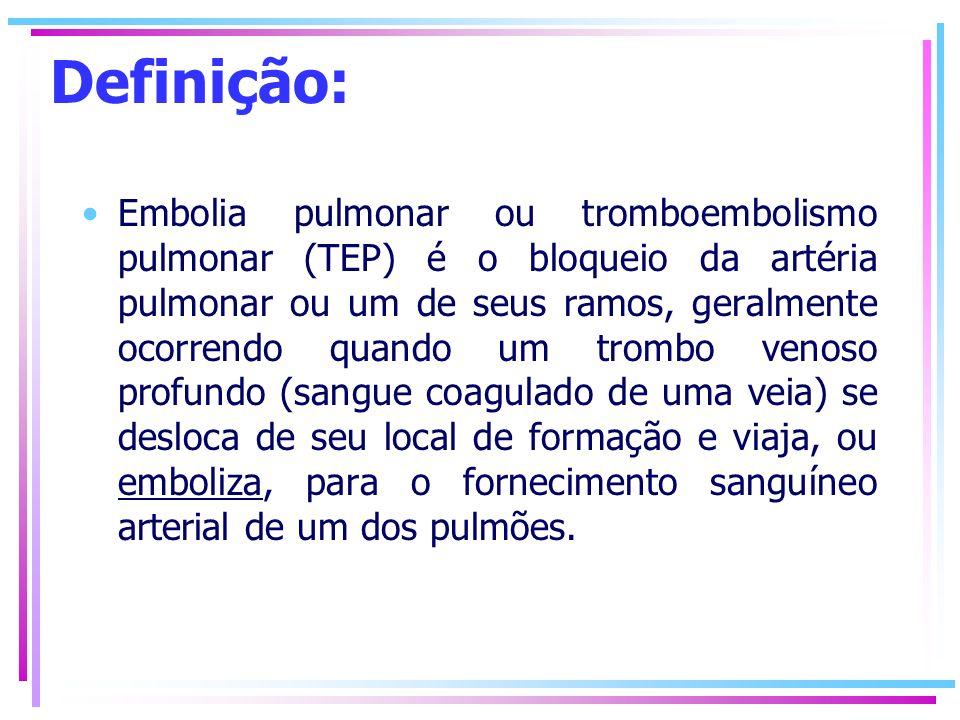 Definição: Embolia pulmonar ou tromboembolismo pulmonar (TEP) é o bloqueio da artéria pulmonar ou um de seus ramos, geralmente ocorrendo quando um tro