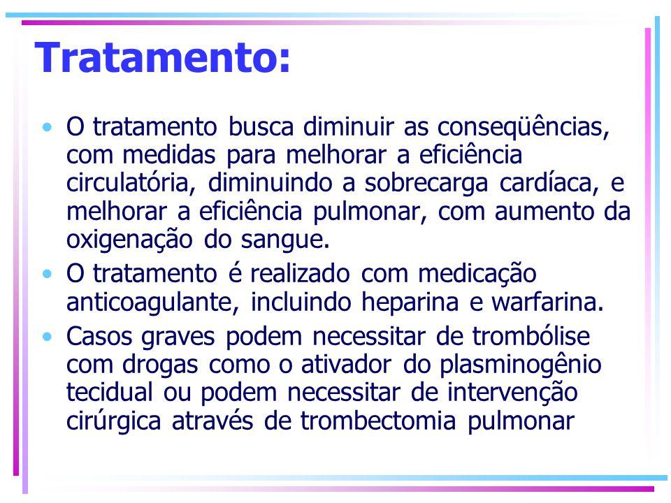 Tratamento: O tratamento busca diminuir as conseqüências, com medidas para melhorar a eficiência circulatória, diminuindo a sobrecarga cardíaca, e mel