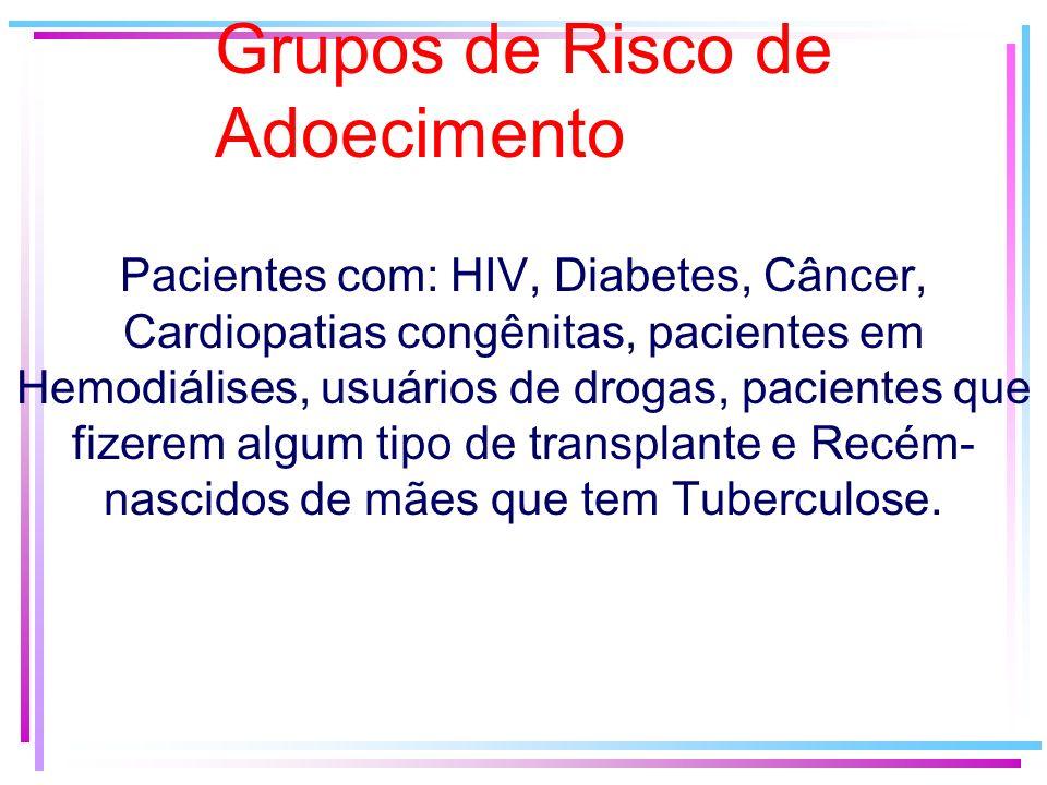 Grupos de Risco de Adoecimento Pacientes com: HIV, Diabetes, Câncer, Cardiopatias congênitas, pacientes em Hemodiálises, usuários de drogas, pacientes