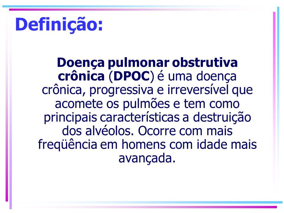 Definição: Doença pulmonar obstrutiva crônica (DPOC) é uma doença crônica, progressiva e irreversível que acomete os pulmões e tem como principais car