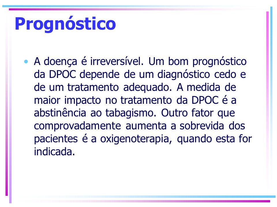Prognóstico A doença é irreversível. Um bom prognóstico da DPOC depende de um diagnóstico cedo e de um tratamento adequado. A medida de maior impacto