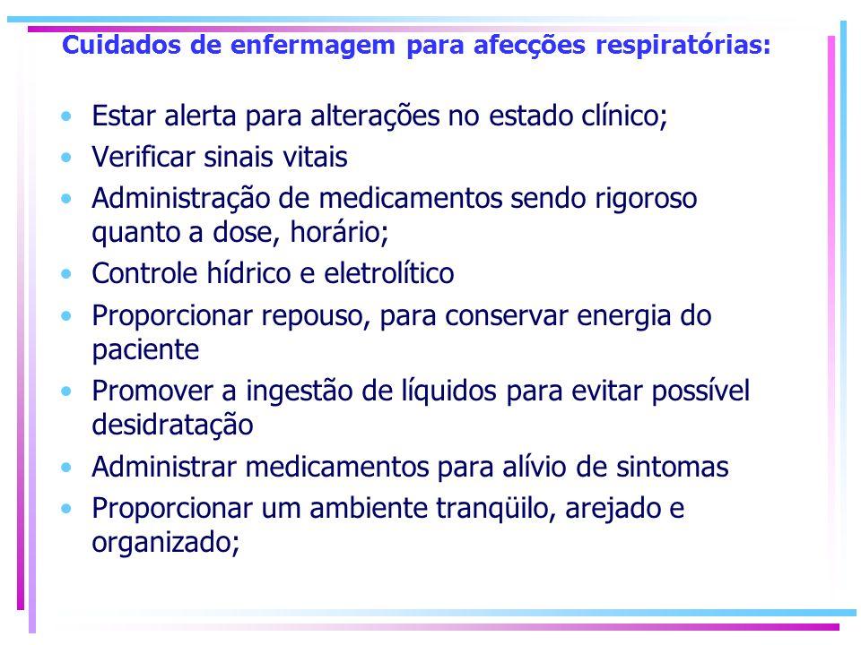 Cuidados de enfermagem para afecções respiratórias: Estar alerta para alterações no estado clínico; Verificar sinais vitais Administração de medicamen