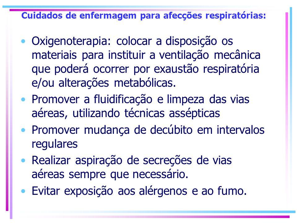 Cuidados de enfermagem para afecções respiratórias: Oxigenoterapia: colocar a disposição os materiais para instituir a ventilação mecânica que poderá