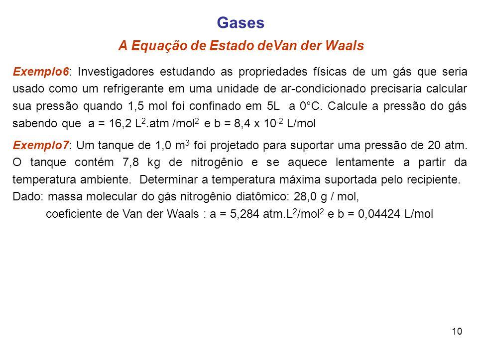 10 Gases A Equação de Estado deVan der Waals Exemplo6: Investigadores estudando as propriedades físicas de um gás que seria usado como um refrigerante