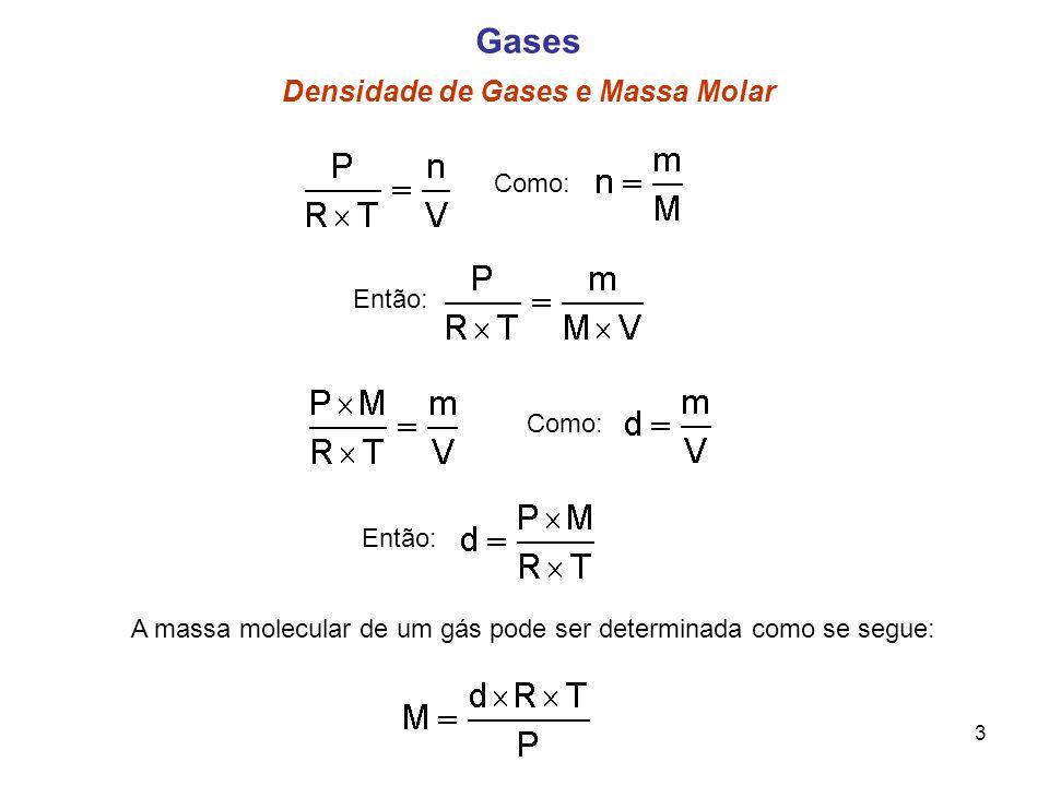 Como: 3 Gases Densidade de Gases e Massa Molar Como: Então: A massa molecular de um gás pode ser determinada como se segue: