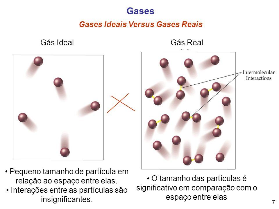7 Gases Gases Ideais Versus Gases Reais Pequeno tamanho de partícula em relação ao espaço entre elas. Interações entre as partículas são insignificant