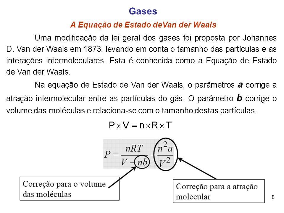 8 Gases A Equação de Estado deVan der Waals Uma modificação da lei geral dos gases foi proposta por Johannes D. Van der Waals em 1873, levando em cont