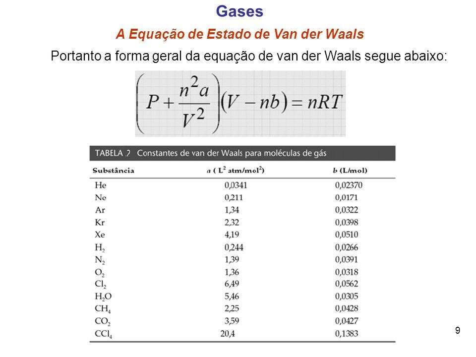 9 Gases A Equação de Estado de Van der Waals Portanto a forma geral da equação de van der Waals segue abaixo: