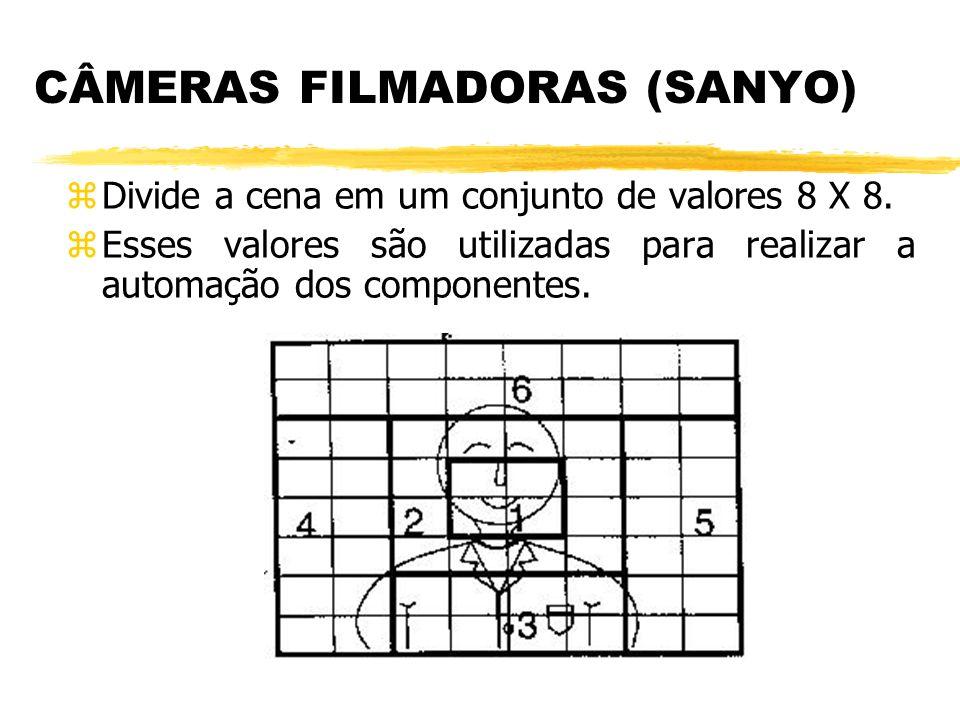 CÂMERAS FILMADORAS (SANYO) z Divide a cena em um conjunto de valores 8 X 8. z Esses valores são utilizadas para realizar a automação dos componentes.