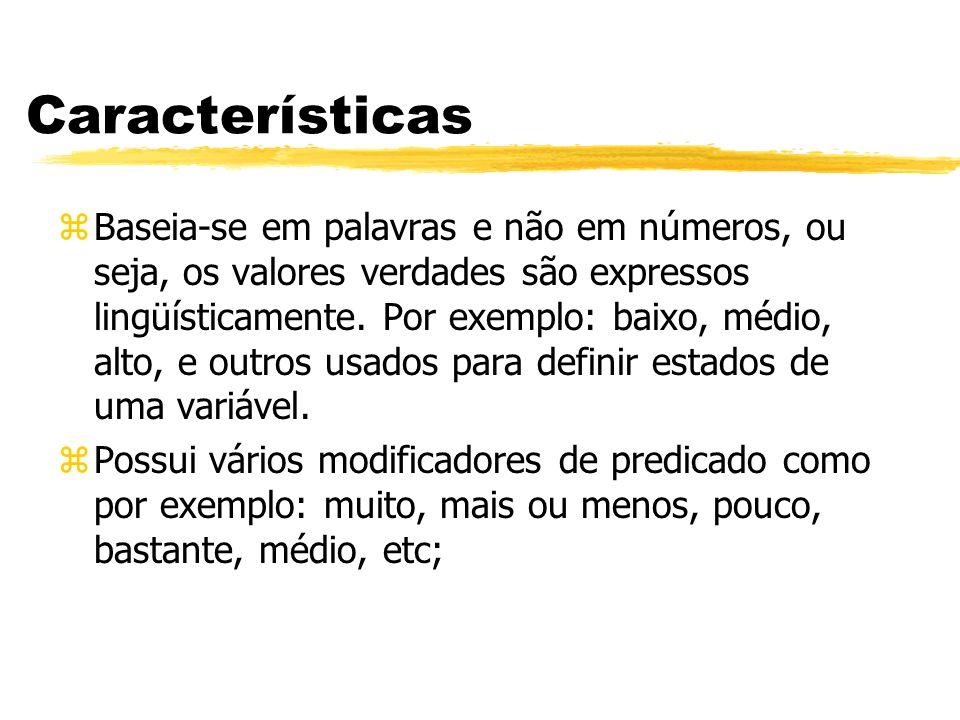 Características zBaseia-se em palavras e não em números, ou seja, os valores verdades são expressos lingüísticamente. Por exemplo: baixo, médio, alto,