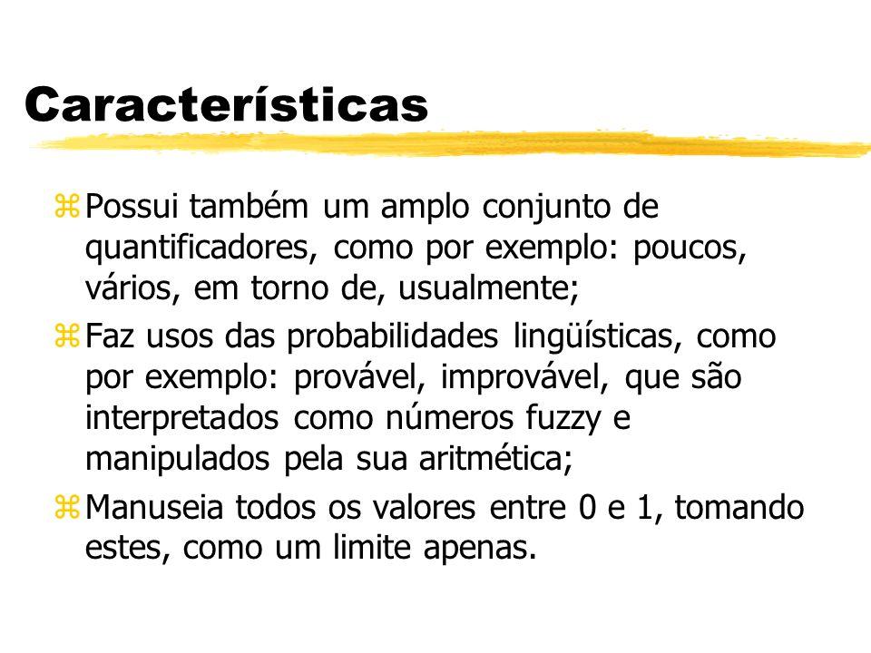 Características zPossui também um amplo conjunto de quantificadores, como por exemplo: poucos, vários, em torno de, usualmente; zFaz usos das probabil