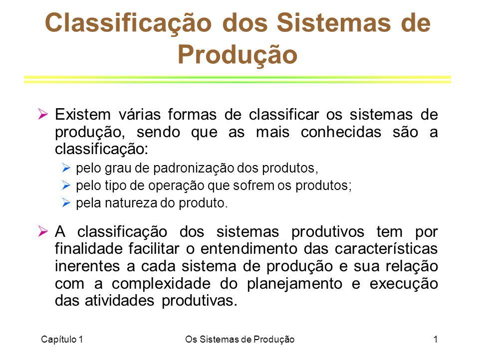 Capítulo 1Os Sistemas de Produção1 Classificação dos Sistemas de Produção Existem várias formas de classificar os sistemas de produção, sendo que as m