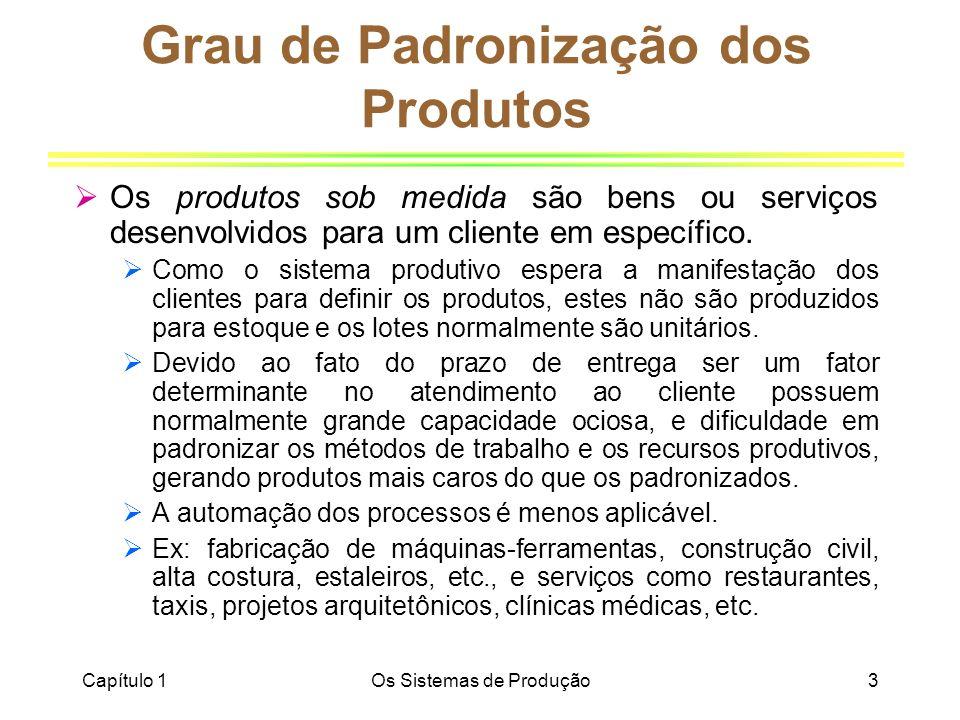 Capítulo 1Os Sistemas de Produção3 Grau de Padronização dos Produtos Os produtos sob medida são bens ou serviços desenvolvidos para um cliente em espe