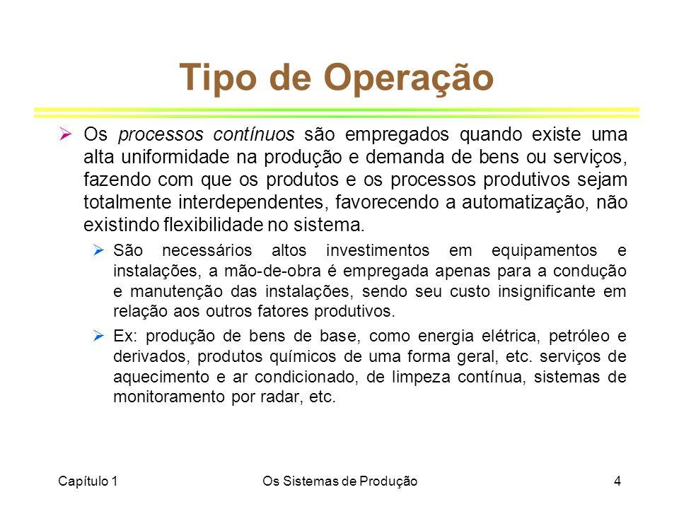 Capítulo 1Os Sistemas de Produção4 Tipo de Operação Os processos contínuos são empregados quando existe uma alta uniformidade na produção e demanda de