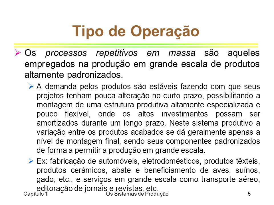 Capítulo 1Os Sistemas de Produção5 Tipo de Operação Os processos repetitivos em massa são aqueles empregados na produção em grande escala de produtos