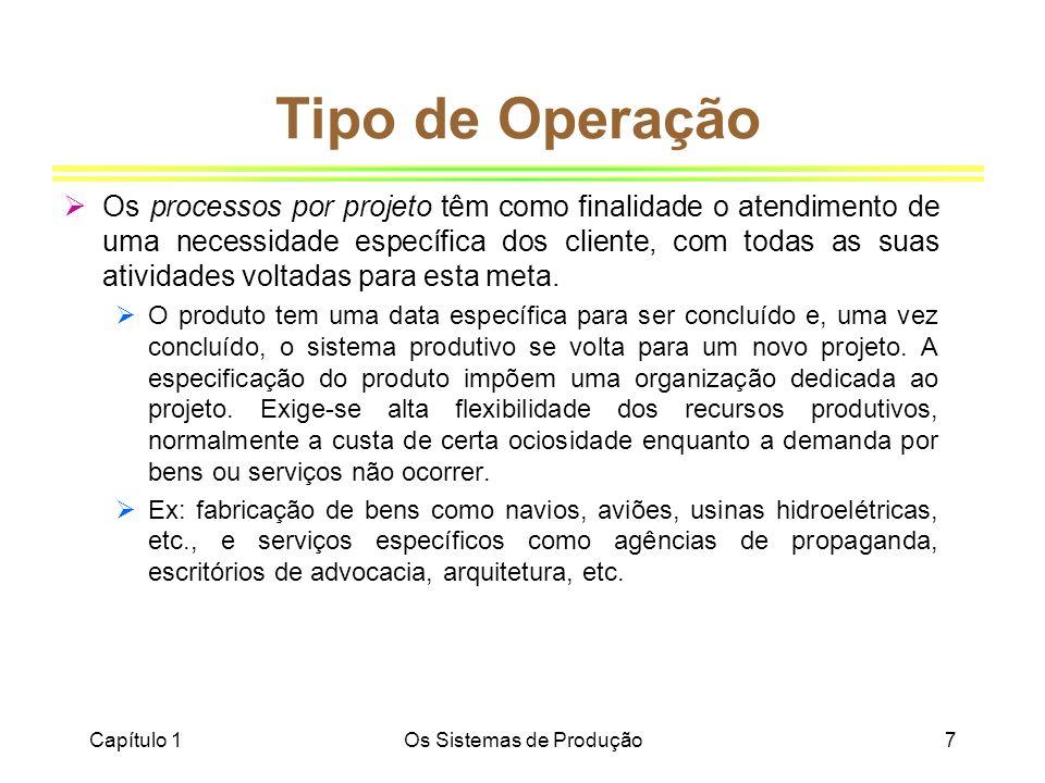 Capítulo 1Os Sistemas de Produção7 Tipo de Operação Os processos por projeto têm como finalidade o atendimento de uma necessidade específica dos clien