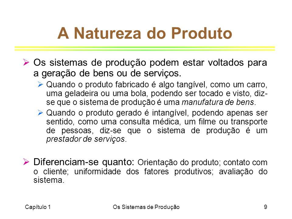 Capítulo 1Os Sistemas de Produção9 A Natureza do Produto Os sistemas de produção podem estar voltados para a geração de bens ou de serviços. Quando o