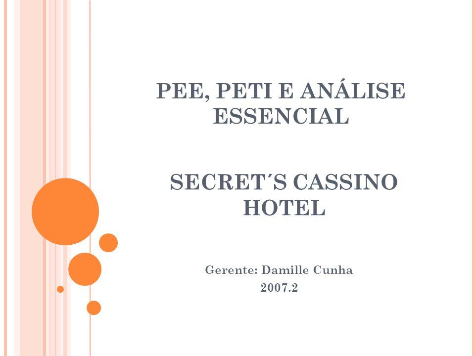 PEE, PETI E ANÁLISE ESSENCIAL Gerente: Damille Cunha 2007.2 SECRET´S CASSINO HOTEL