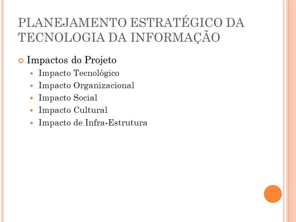 PLANEJAMENTO ESTRATÉGICO DA TECNOLOGIA DA INFORMAÇÃO Impactos do Projeto Impacto Tecnológico Impacto Organizacional Impacto Social Impacto Cultural Impacto de Infra-Estrutura