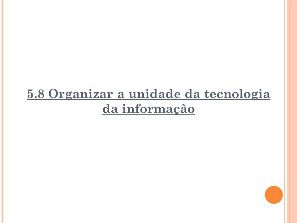 5.8 Organizar a unidade da tecnologia da informação