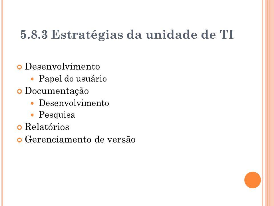 5.8.3 Estratégias da unidade de TI Desenvolvimento Papel do usuário Documentação Desenvolvimento Pesquisa Relatórios Gerenciamento de versão