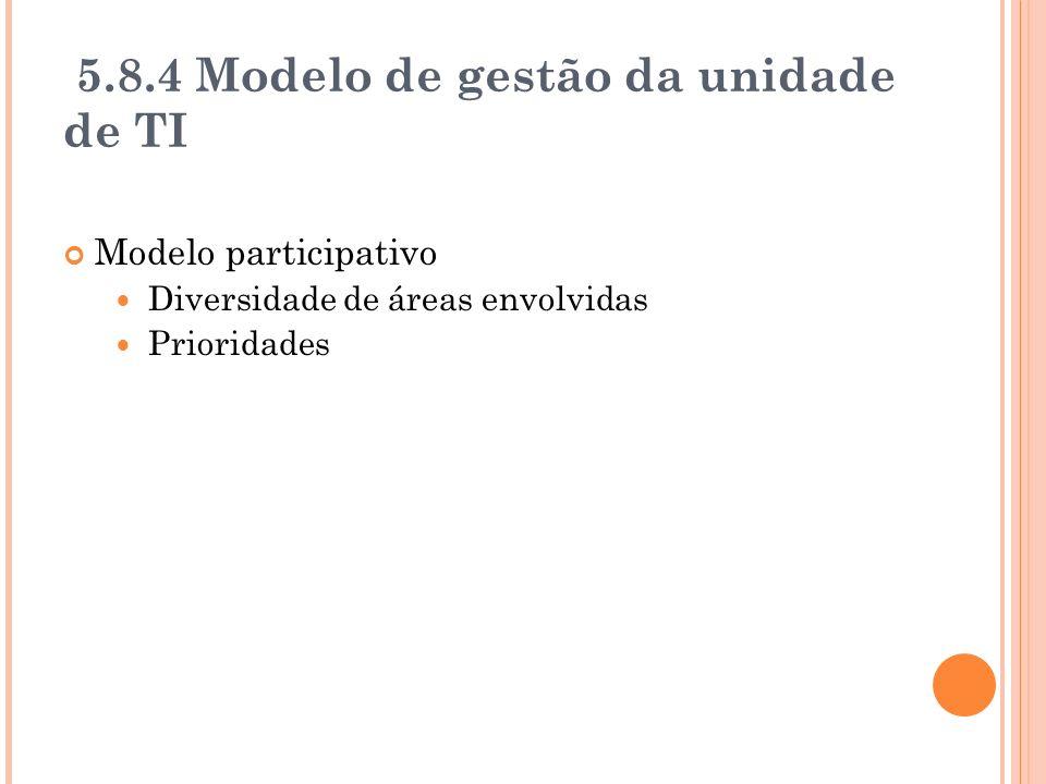 5.8.4 Modelo de gestão da unidade de TI Modelo participativo Diversidade de áreas envolvidas Prioridades