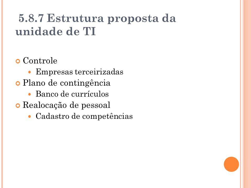 5.8.7 Estrutura proposta da unidade de TI Controle Empresas terceirizadas Plano de contingência Banco de currículos Realocação de pessoal Cadastro de competências