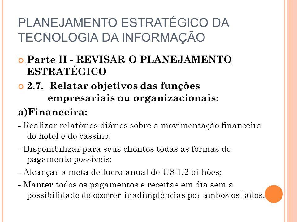 PLANEJAMENTO ESTRATÉGICO DA TECNOLOGIA DA INFORMAÇÃO Parte II - REVISAR O PLANEJAMENTO ESTRATÉGICO 2.7.