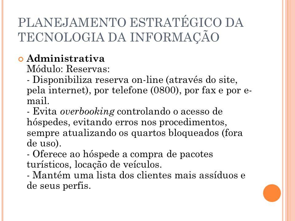 PLANEJAMENTO ESTRATÉGICO DA TECNOLOGIA DA INFORMAÇÃO Administrativa Módulo: Reservas: - Disponibiliza reserva on-line (através do site, pela internet), por telefone (0800), por fax e por e- mail.