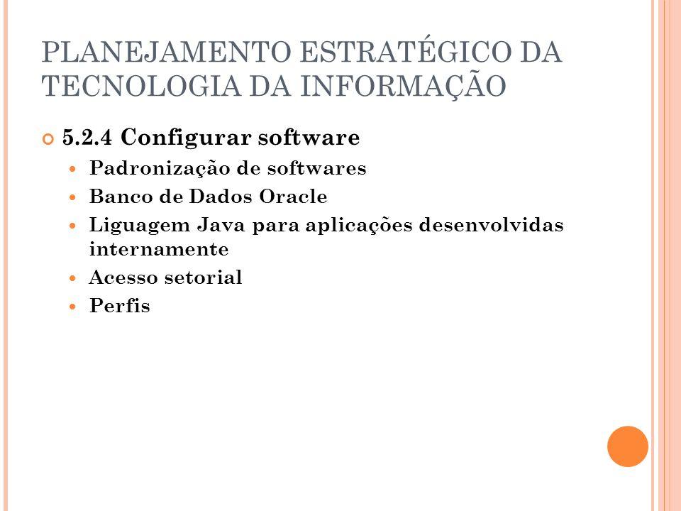 PLANEJAMENTO ESTRATÉGICO DA TECNOLOGIA DA INFORMAÇÃO 5.2.4 Configurar software Padronização de softwares Banco de Dados Oracle Liguagem Java para aplicações desenvolvidas internamente Acesso setorial Perfis