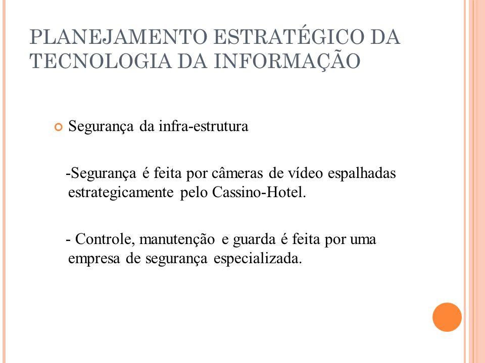 PLANEJAMENTO ESTRATÉGICO DA TECNOLOGIA DA INFORMAÇÃO Segurança da infra-estrutura -Segurança é feita por câmeras de vídeo espalhadas estrategicamente pelo Cassino-Hotel.