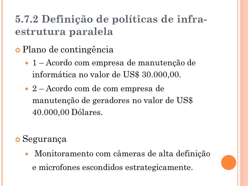 5.7.2 Definição de políticas de infra- estrutura paralela Plano de contingência 1 – Acordo com empresa de manutenção de informática no valor de US$ 30.000,00.