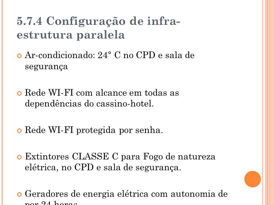 5.7.4 Configuração de infra- estrutura paralela Ar-condicionado: 24° C no CPD e sala de segurança Rede WI-FI com alcance em todas as dependências do cassino-hotel.