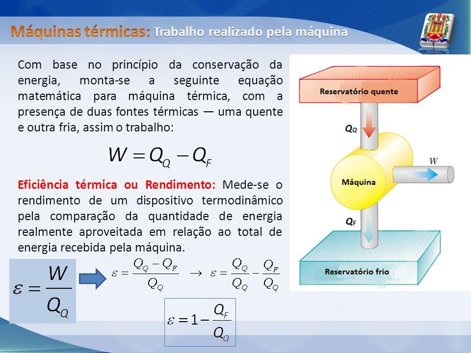 Com base no princípio da conservação da energia, monta-se a seguinte equação matemática para máquina térmica, com a presença de duas fontes térmicas u