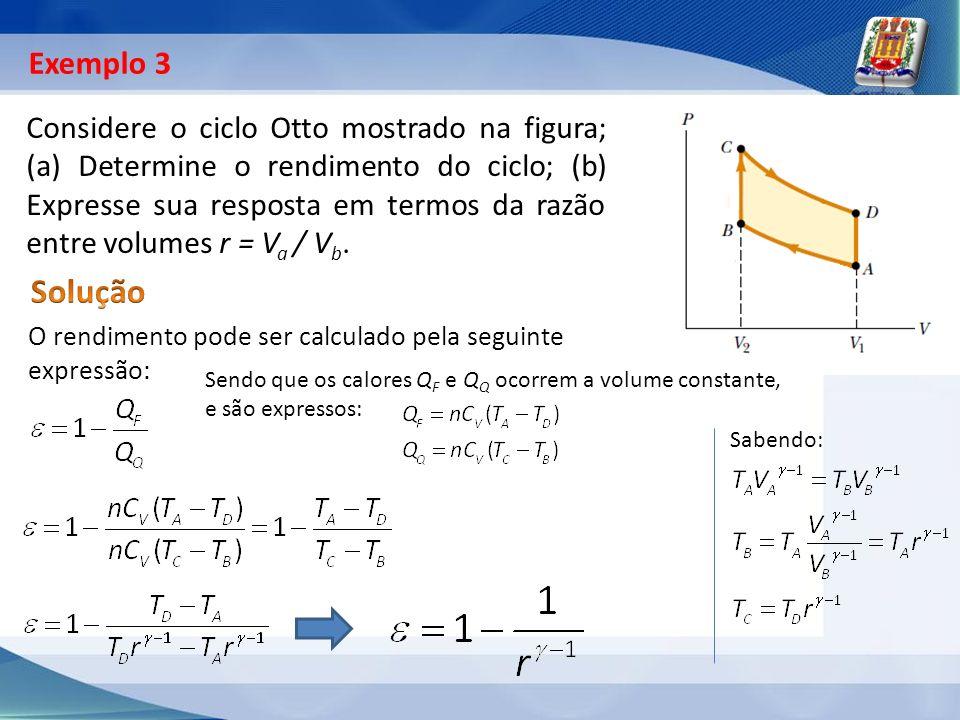Considere o ciclo Otto mostrado na figura; (a) Determine o rendimento do ciclo; (b) Expresse sua resposta em termos da razão entre volumes r = V a / V